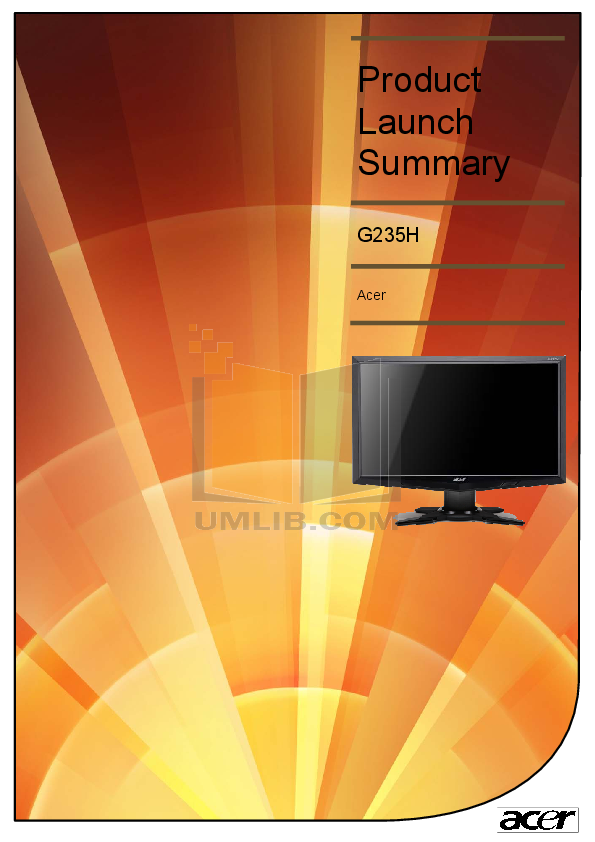 pdf for Acer Monitor G235H manual