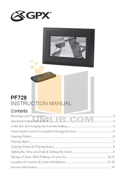 pdf for GPX Digital Photo Frame PF728 manual