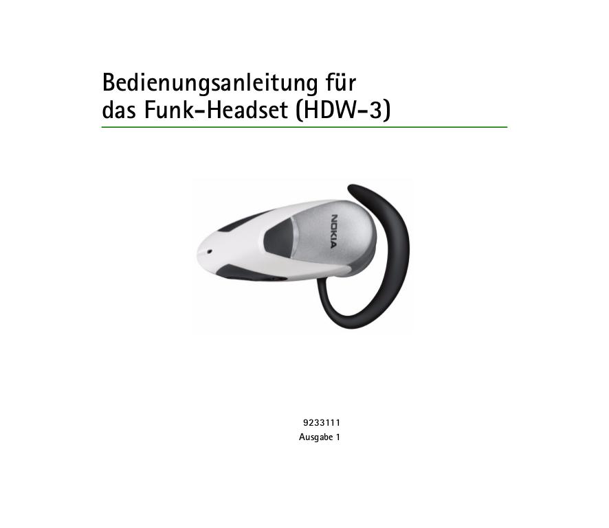 pdf for Nokia Headset HDW-3 manual