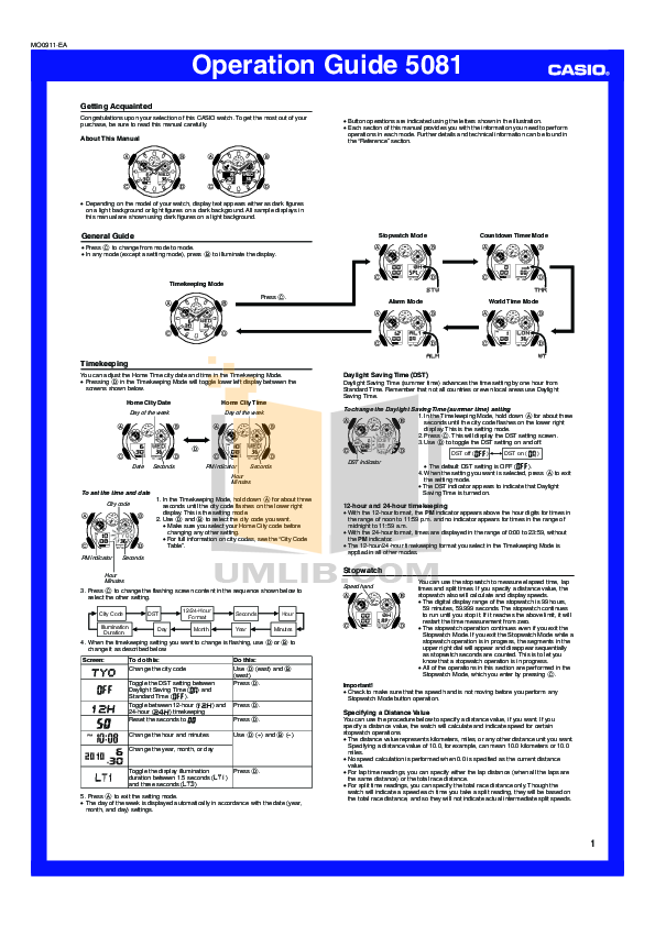 Casio g-shock 5081 instruction manual