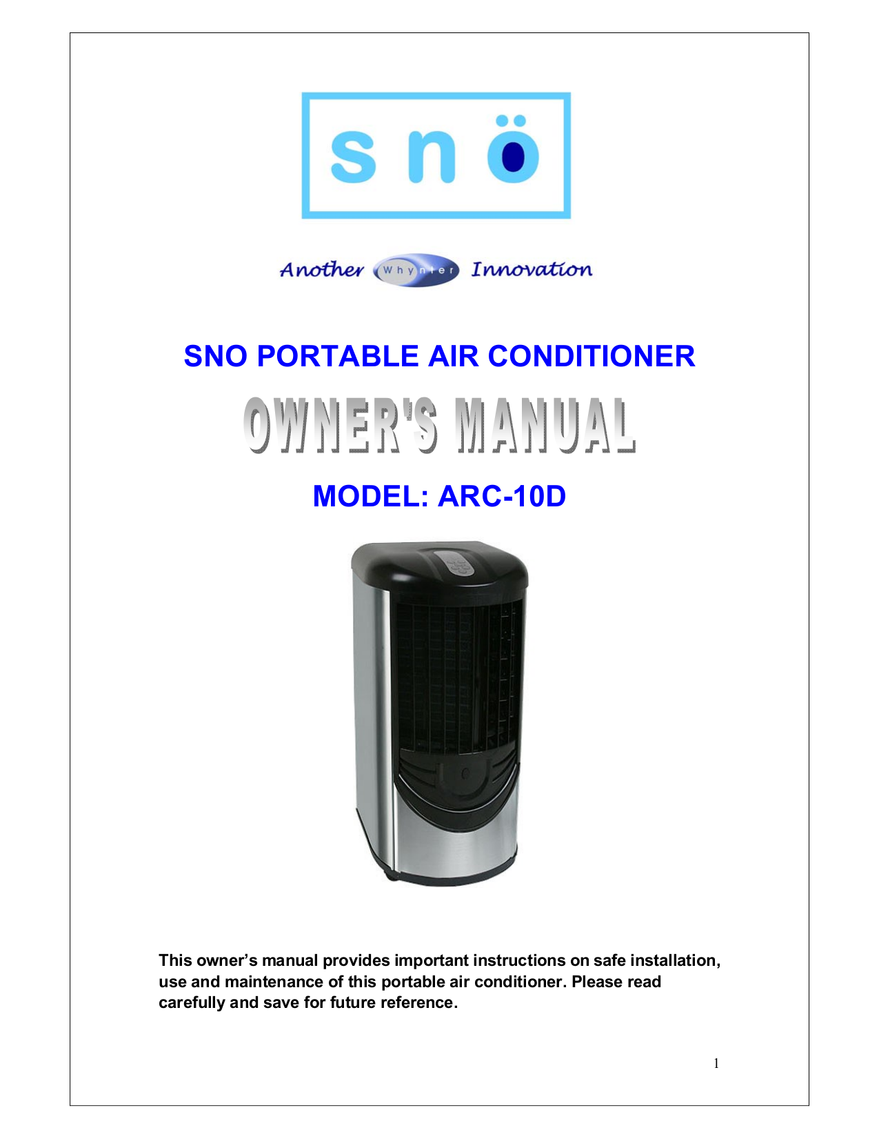 pdf for Whynter Air Conditioner ARC-10D manual