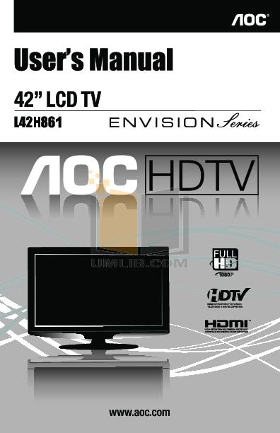 pdf for AOC TV L42H861 manual