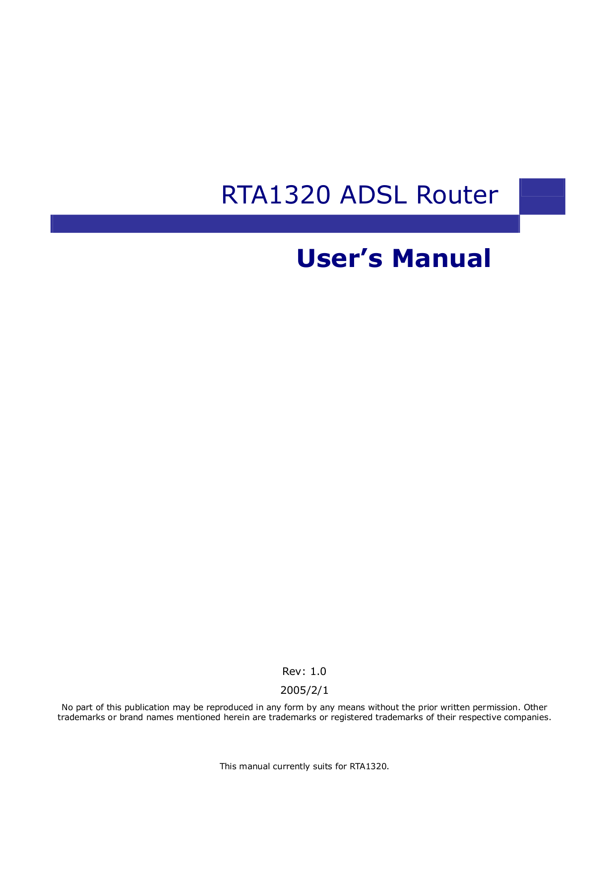 pdf for Netcomm Router RTA1320 manual