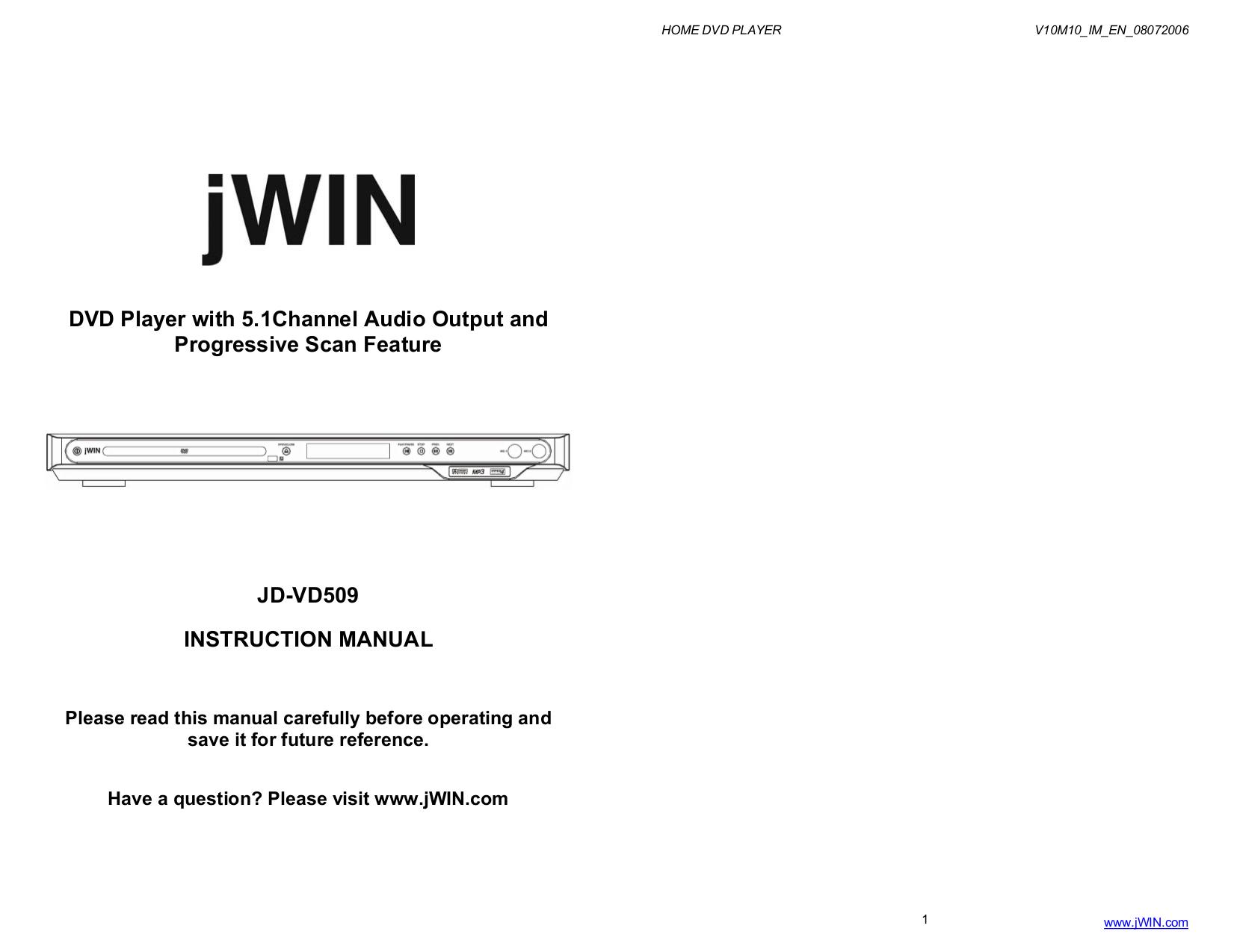 pdf for jWIN DVD Players JD-VD509 manual