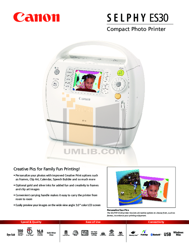 pdf for Canon Printer SELPHY ES30 manual