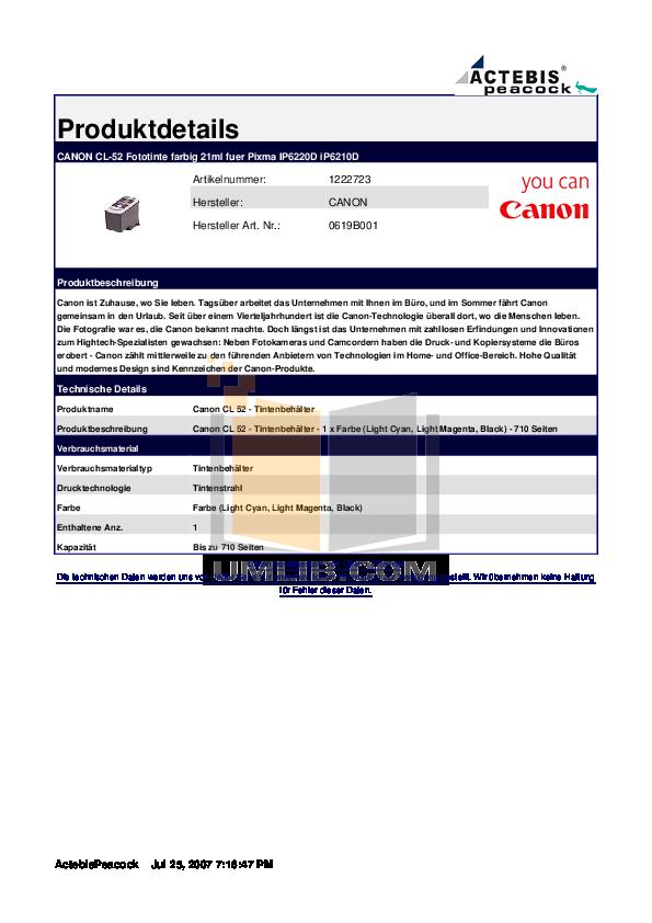 pdf for Canon Printer PIXMA iP6210D manual