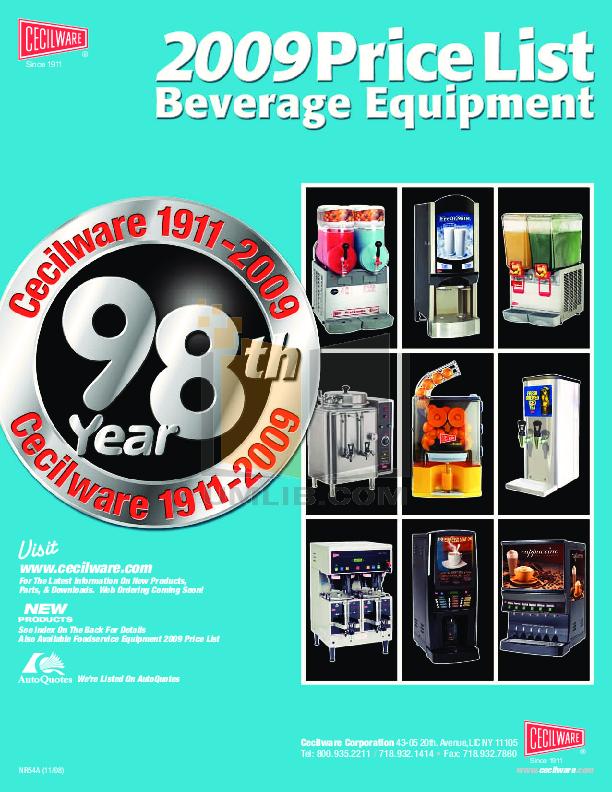 pdf for Cecilware Coffee Maker CS2AWT manual