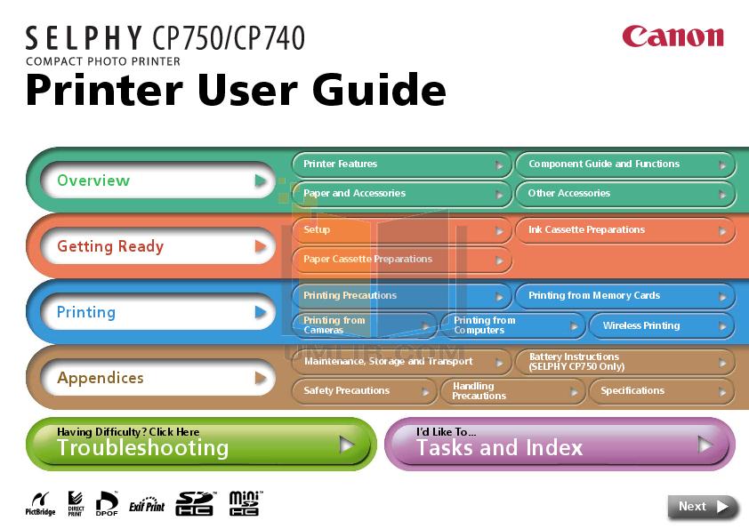 pdf for Canon Printer CP-200 manual