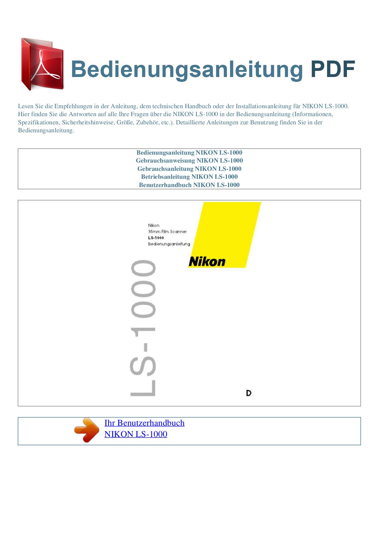 pdf for Nikon Scanner LS-1000 manual