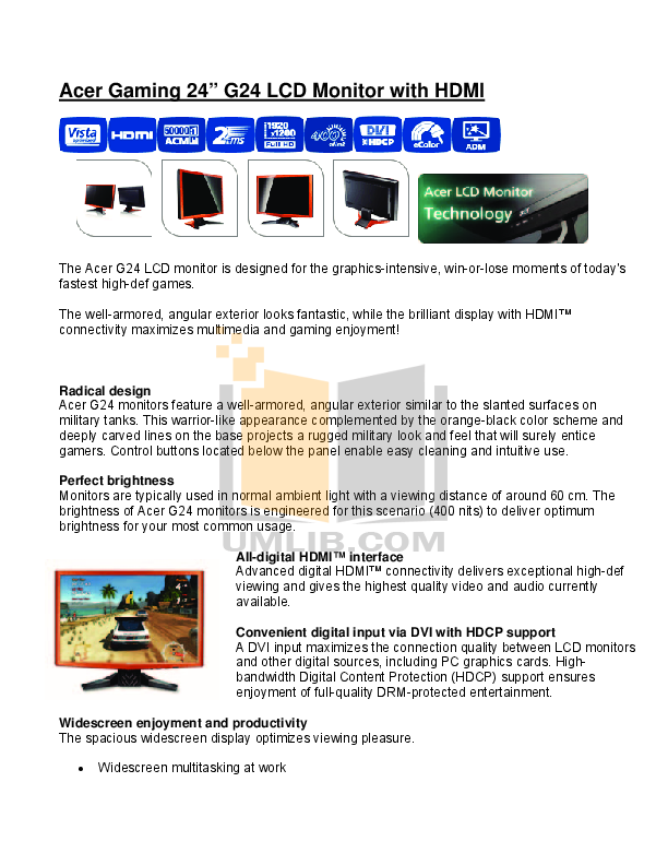 pdf for Acer Monitor G24 manual