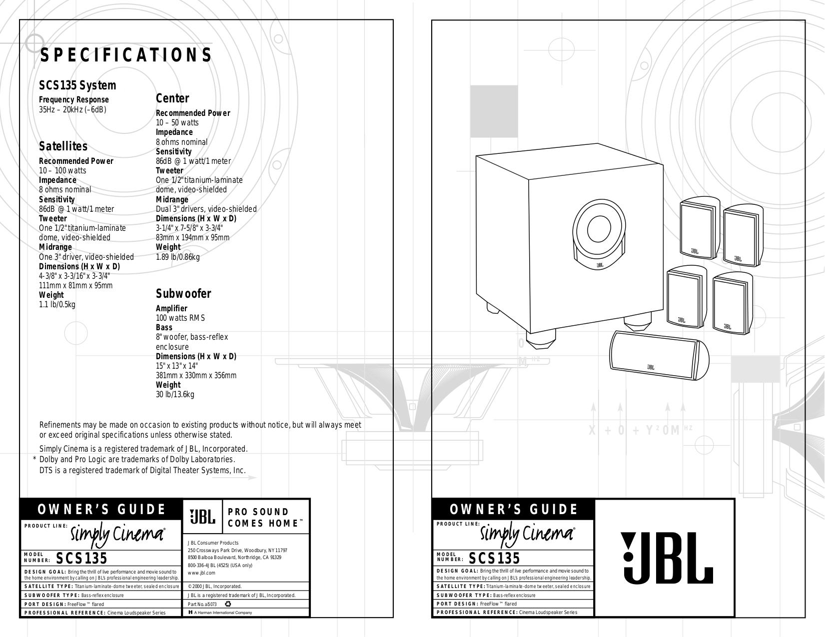 pdf for JBL Speaker System SCS135S manual