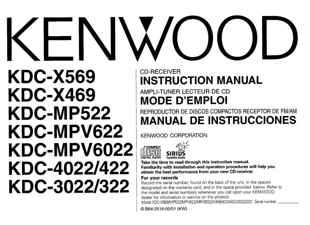 Download Free Pdf For Kenwood Kdc 322 Car Receiver Manual Model Wiring Diagram 3011
