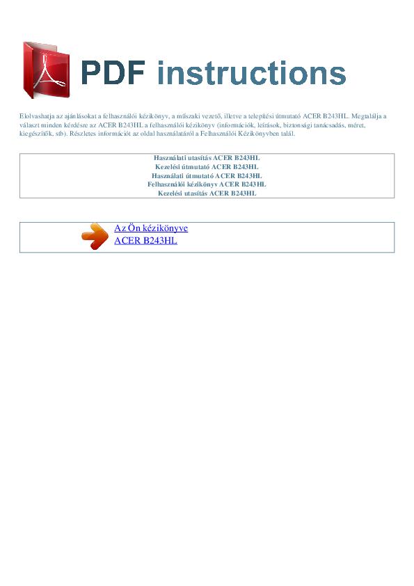 pdf for Acer Monitor B243HL manual