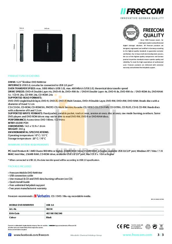 Freecom DVD Drive DVD RW Recorder LS pdf page preview