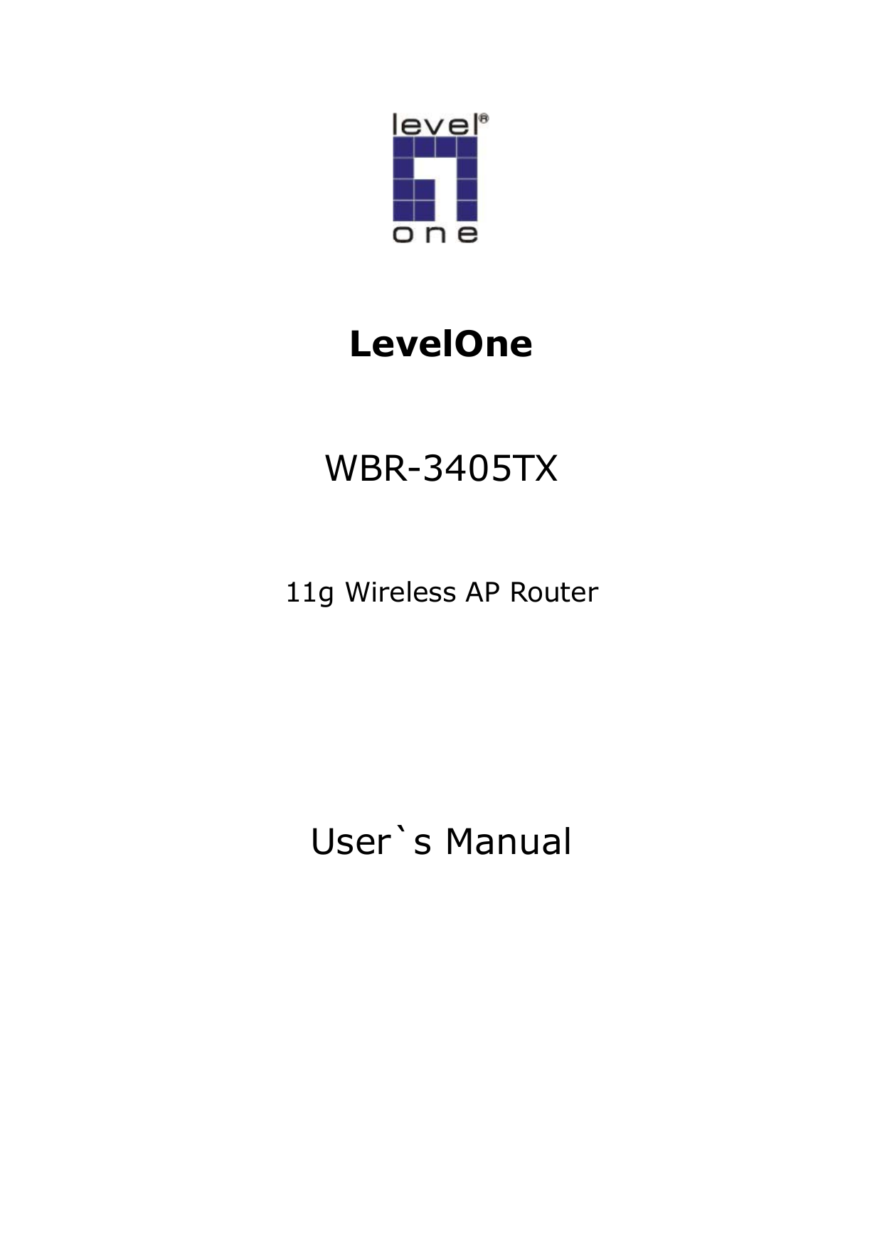 pdf for LevelOne Wireless Router WBR-3405TX manual