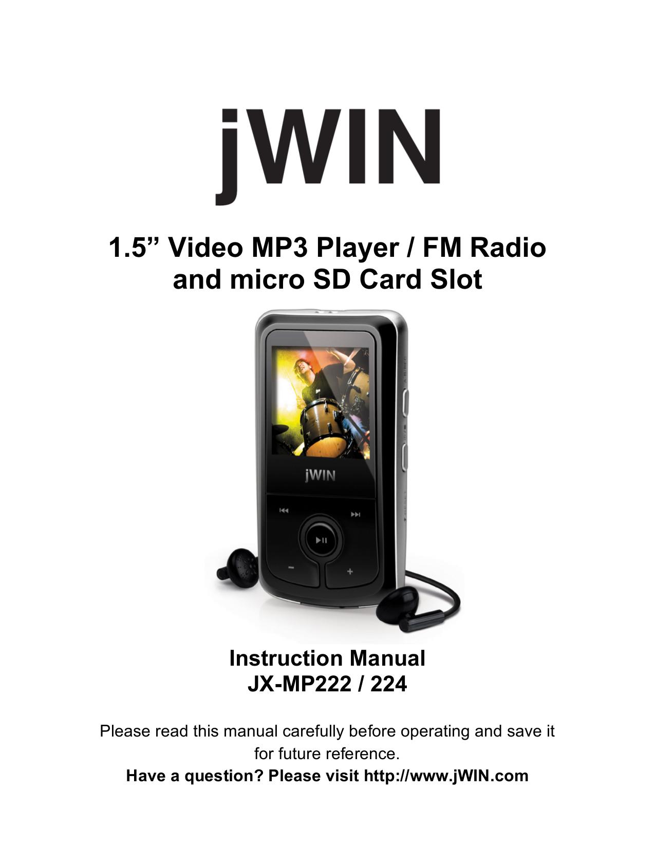 pdf for jWIN MP3 Player JX-MP222 manual