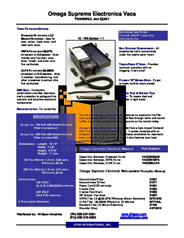 pdf for Atrix Vacuum Omega Supreme Vacuum manual