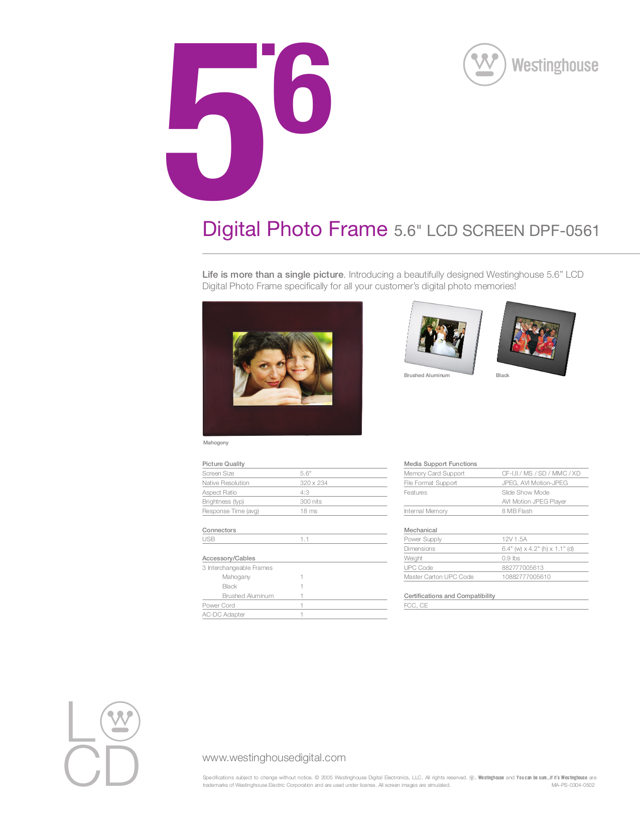 pdf for Westinghouse Digital Photo Frame DPF-0561 manual