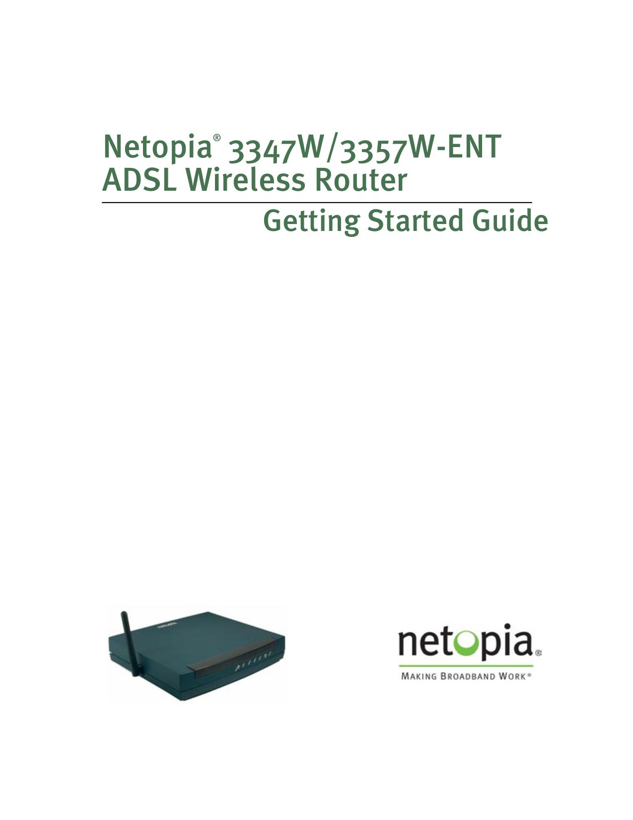 pdf for Netopia Wireless Router 3357W manual