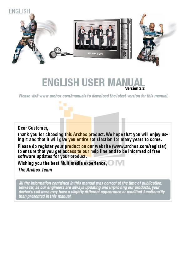 pdf for Archos Other ARCFlash pmp manual