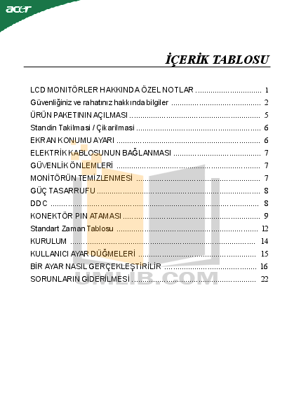 pdf for Acer Monitor P223W manual