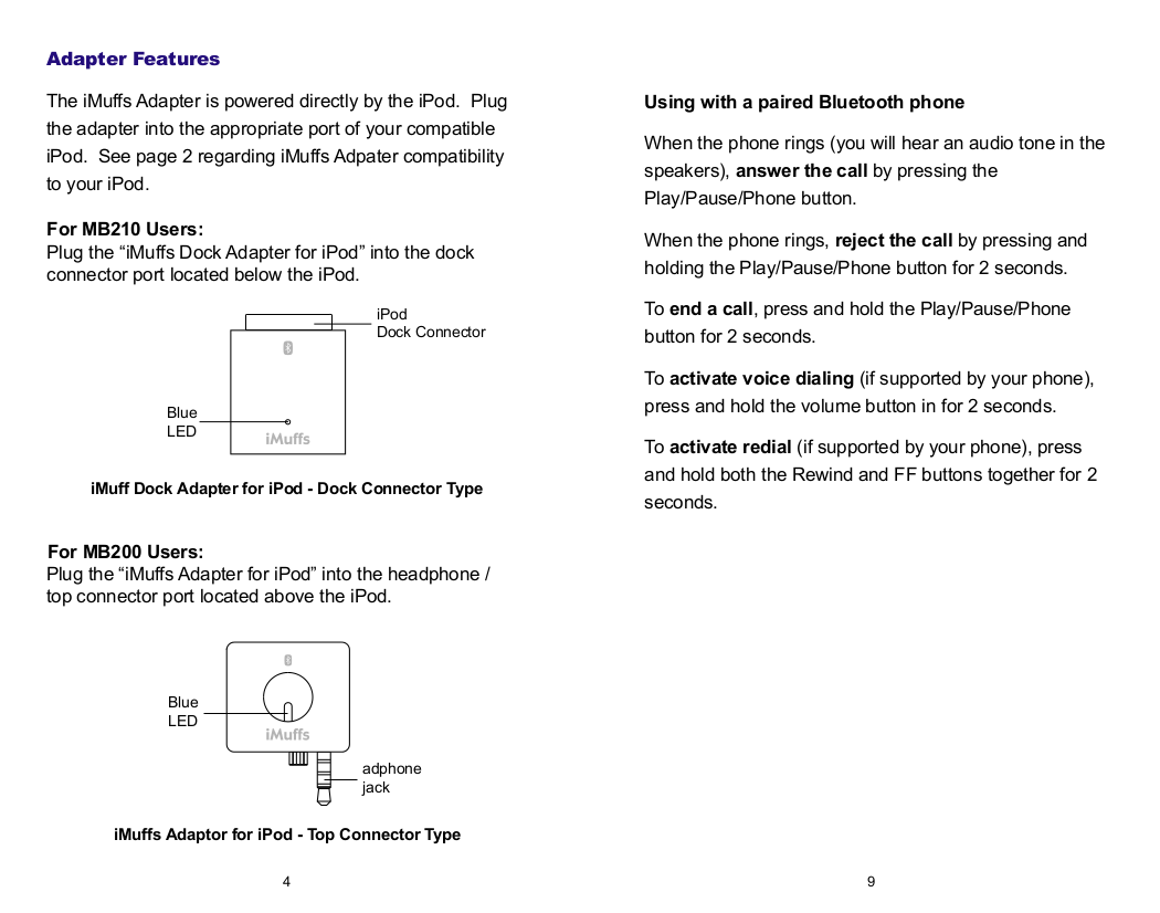 Wi-Gear Headset iMuffs MB220 pdf page preview
