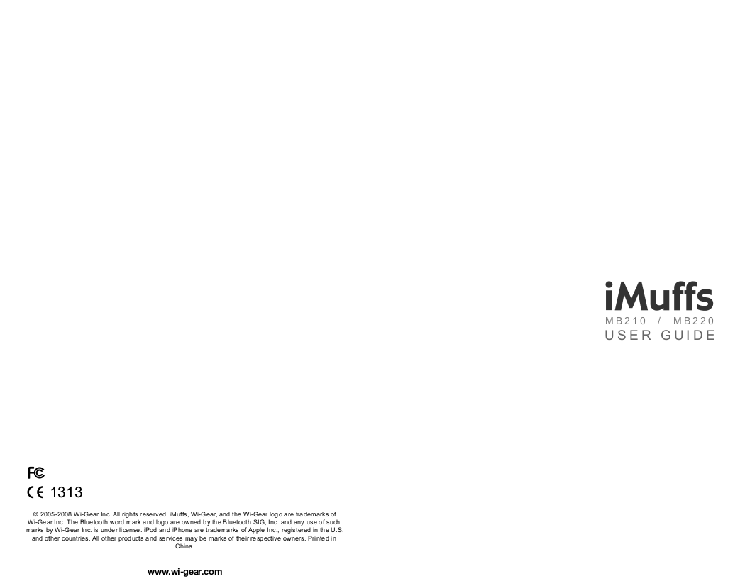 pdf for Wi-Gear Headset iMuffs MB220 manual