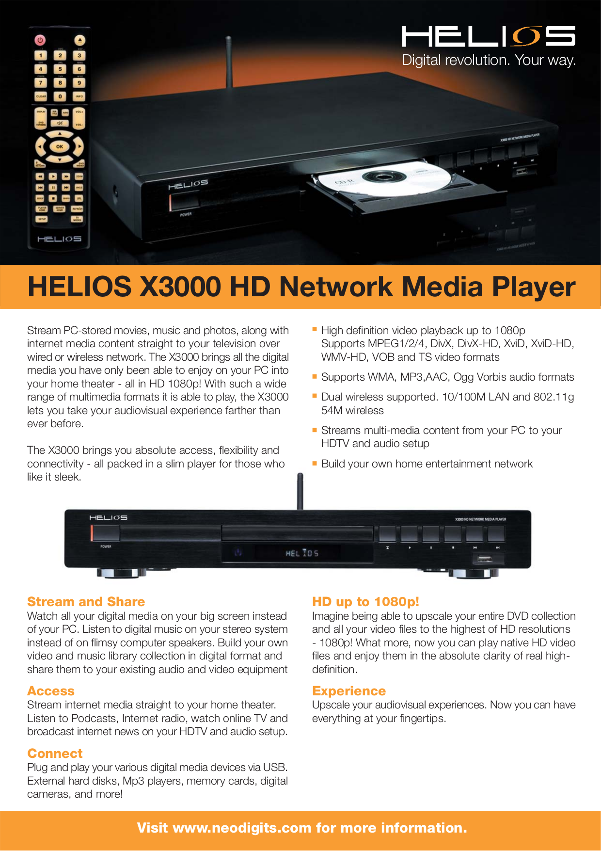 pdf for Neodigits DVD Players HELIOS X3000 manual