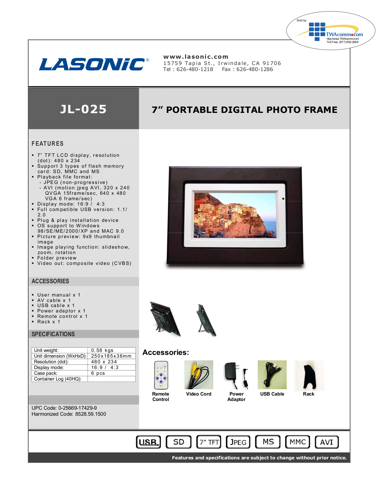 pdf for Lasonic Digital Photo Frame JL-025 manual