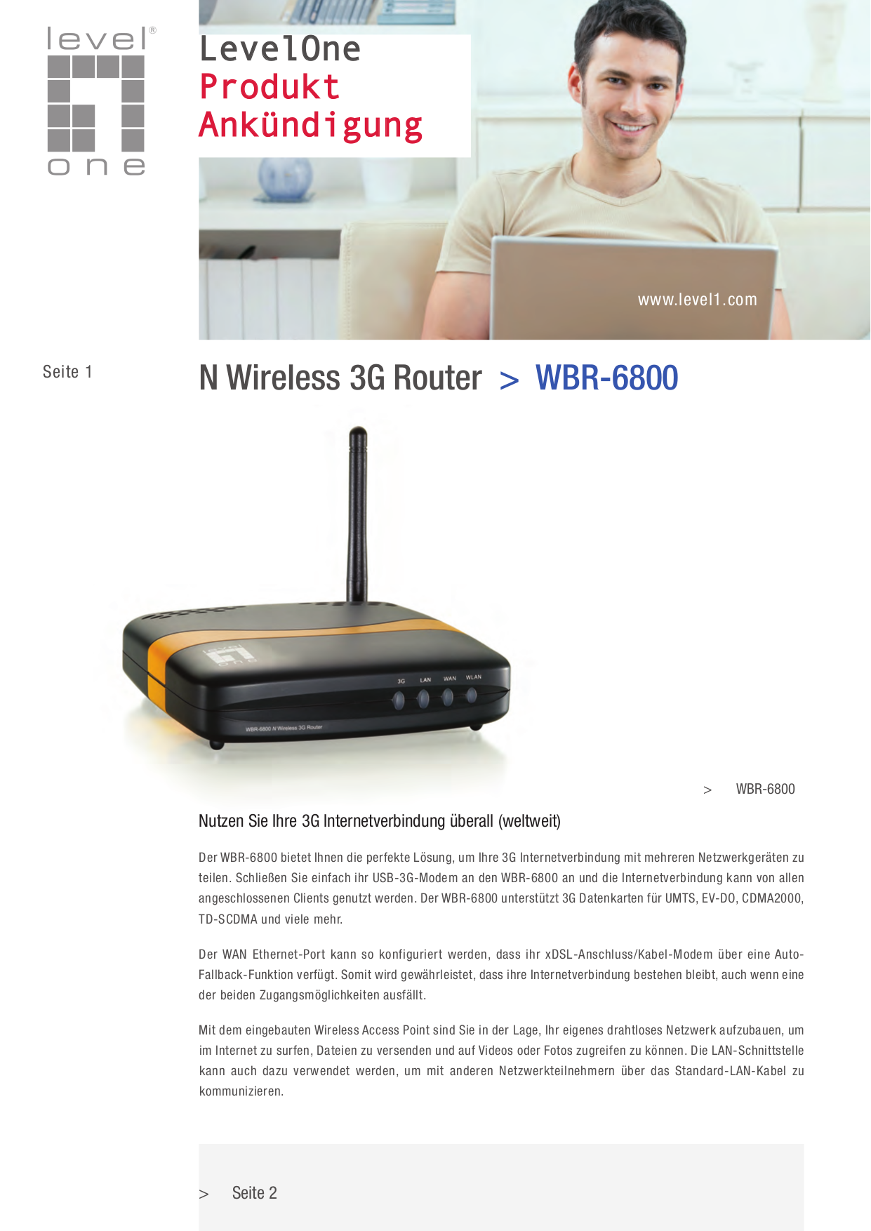 pdf for LevelOne Wireless Router WBR-6800 manual