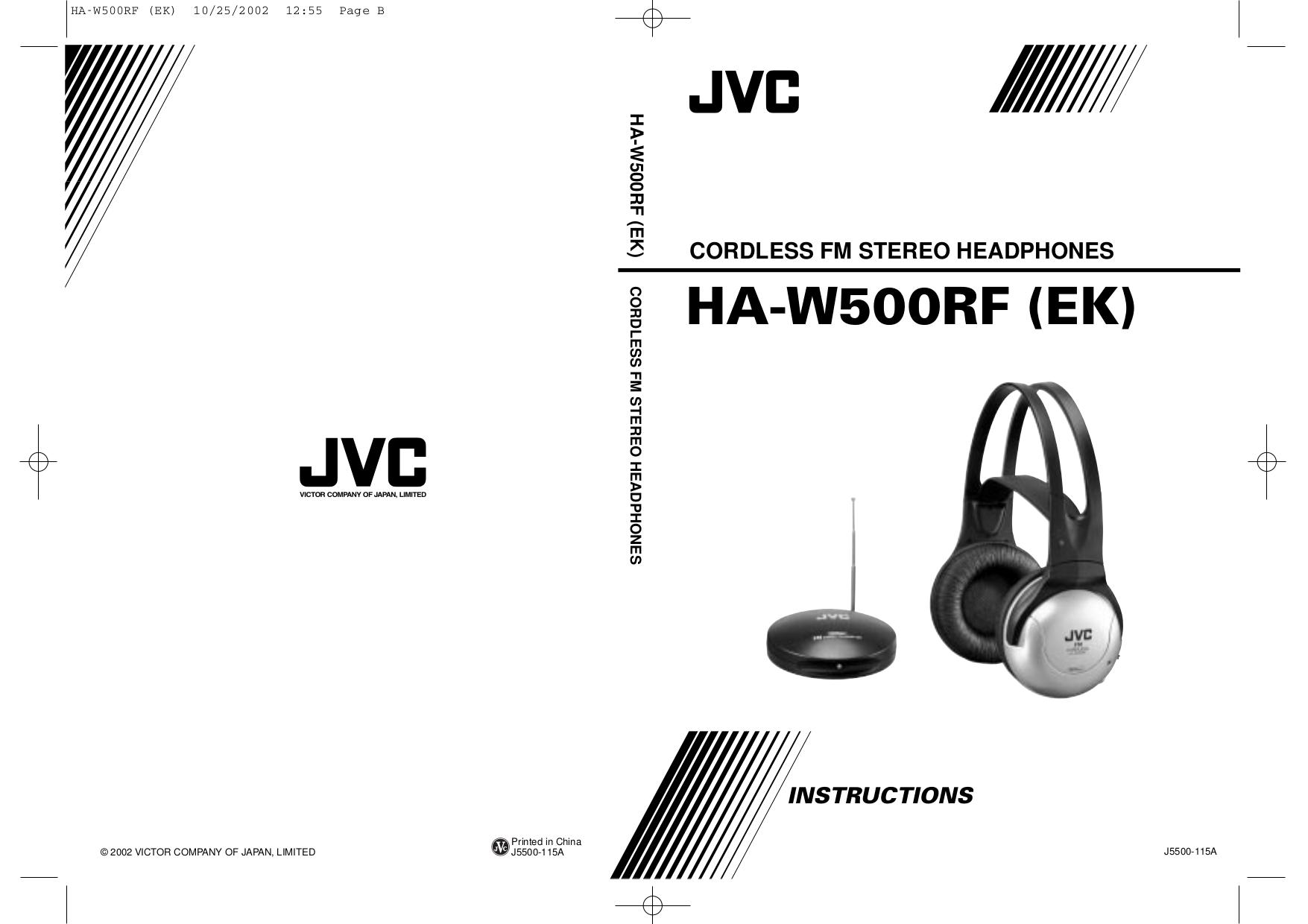 pdf for JVC Headphone HA-W500RF manual