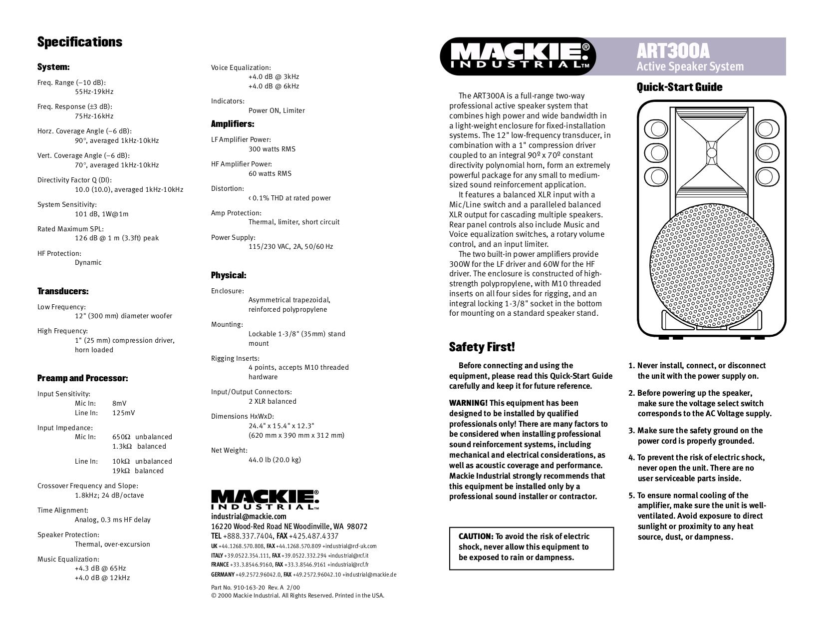 pdf for Mackie Speaker System Art Series ART300 manual