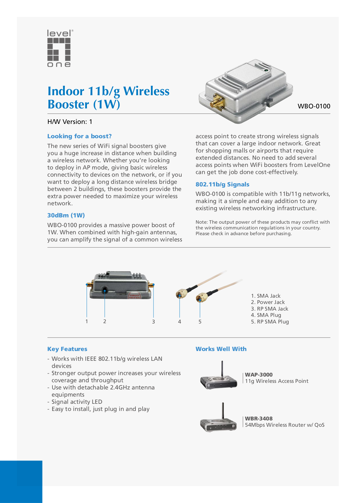 pdf for LevelOne Other WBO-0100 WiFi Signal Boosters manual