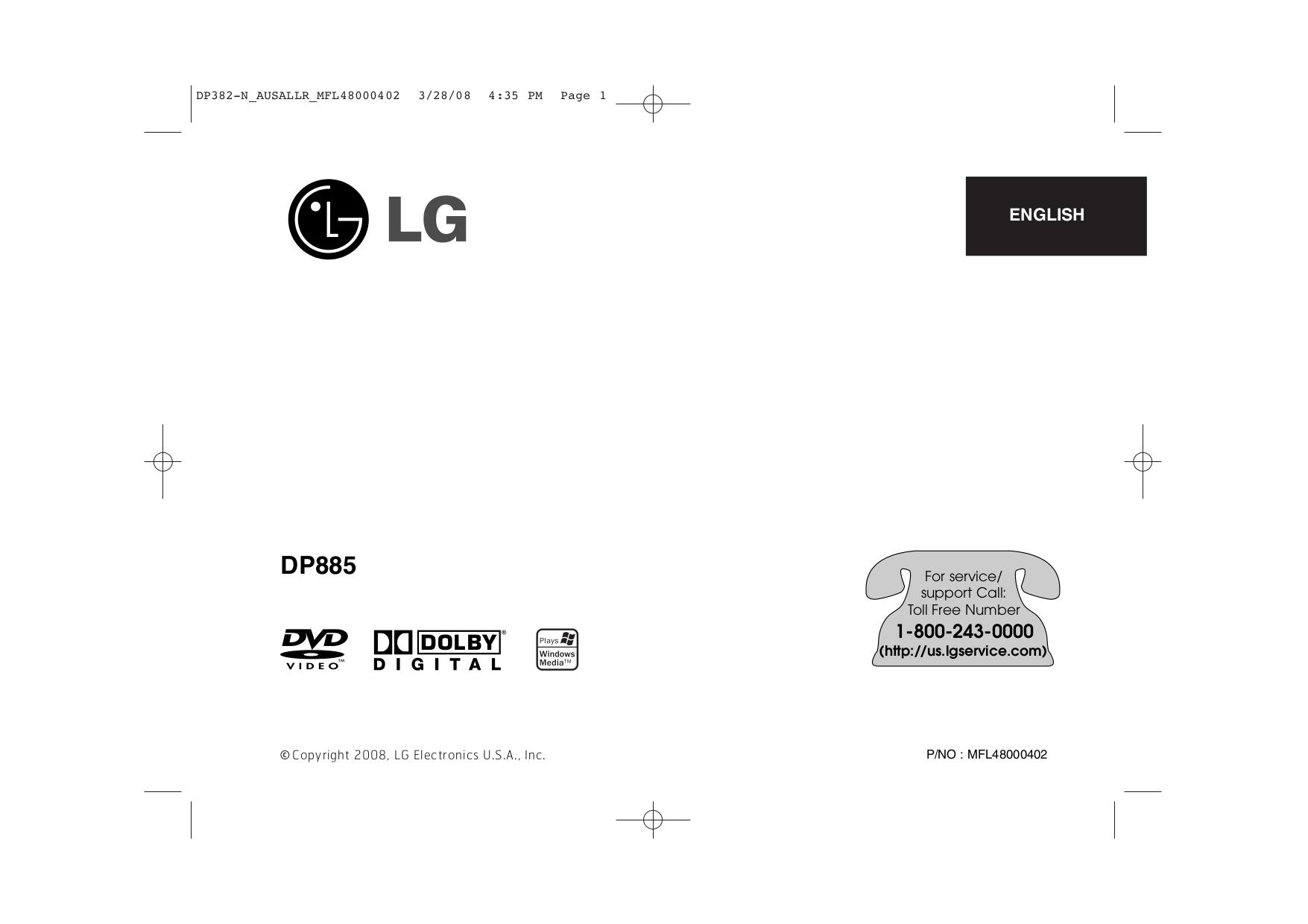pdf for LG Portable DVD Player DP885 manual