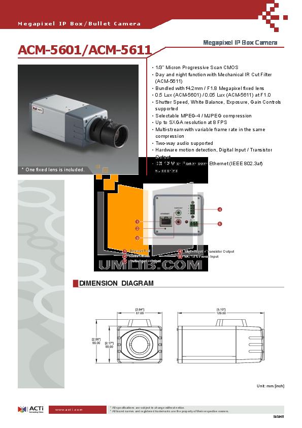 pdf for ACTi Security Camera ACM-5611 manual