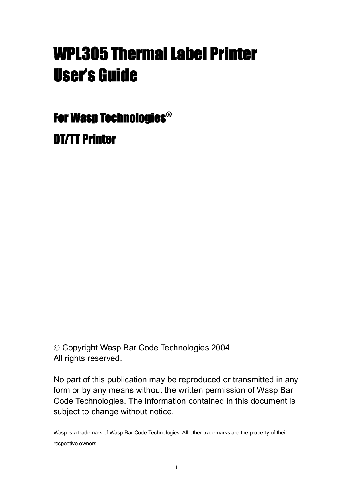 pdf for Wasp Printer W-300 manual