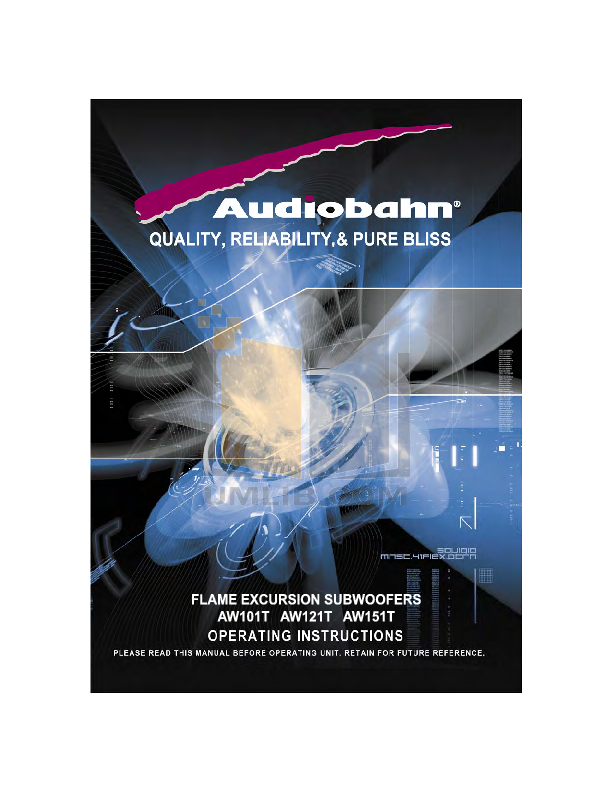 pdf for Audiobahn Subwoofer AW101T manual