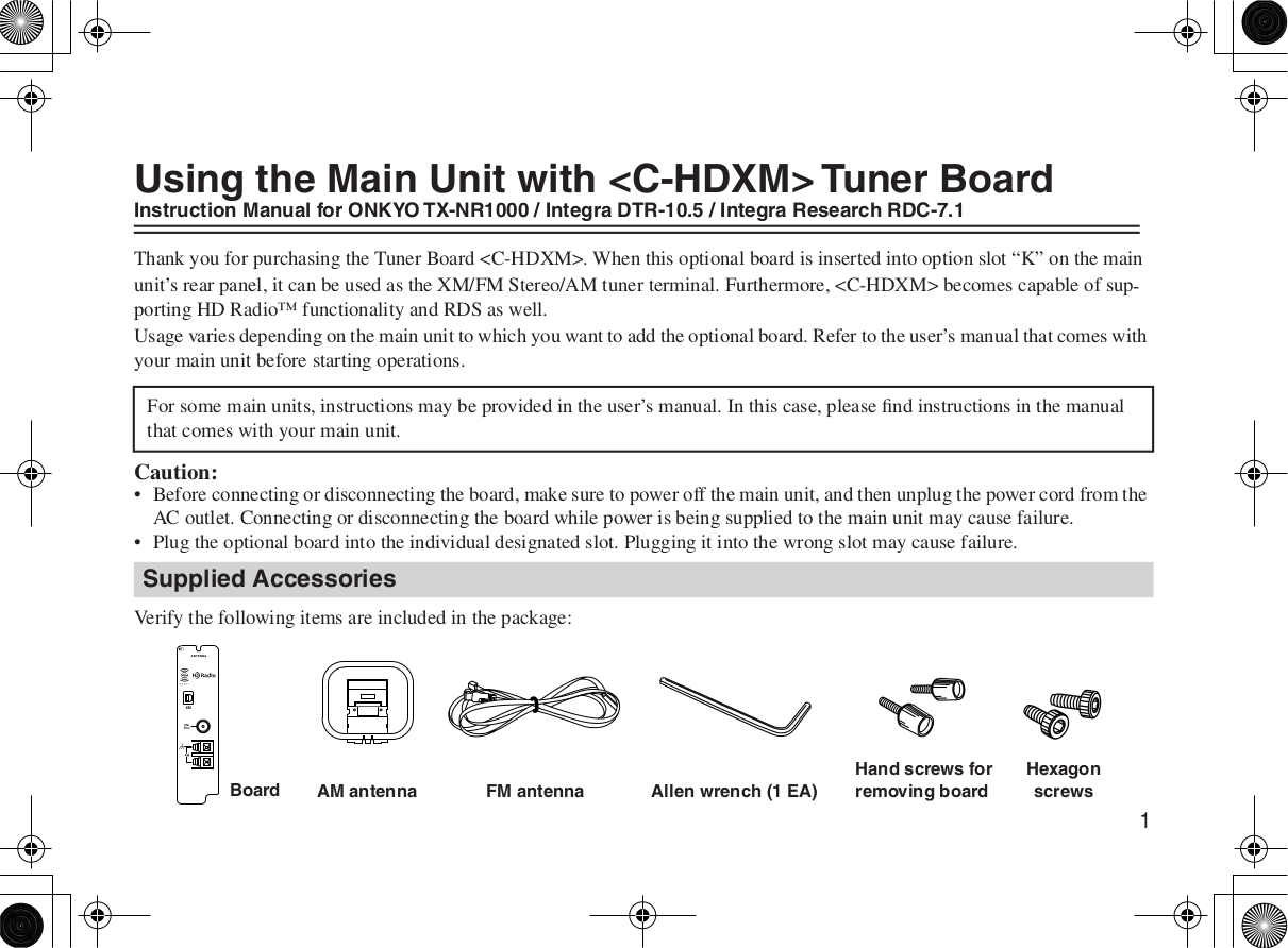 pdf for Integra Other C-HDXM Tuner Board manual