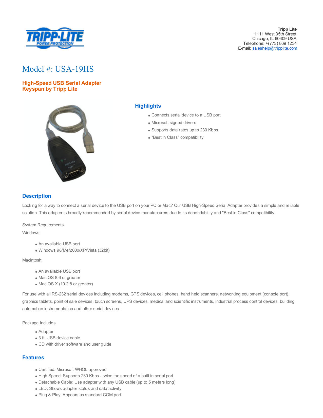 pdf for Keyspan Other USA-19HS USB Adapter manual