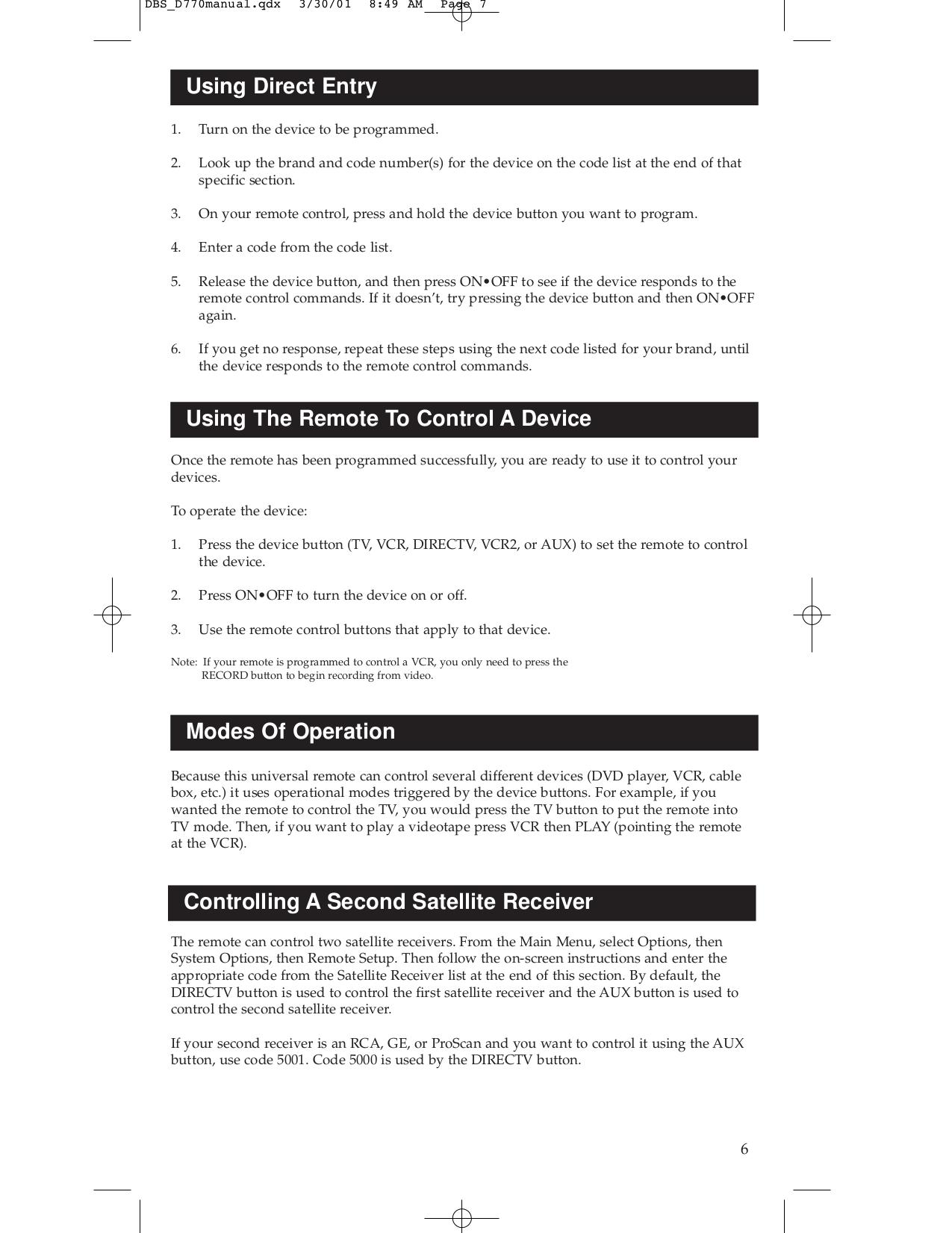 D770 Rca remote Manual
