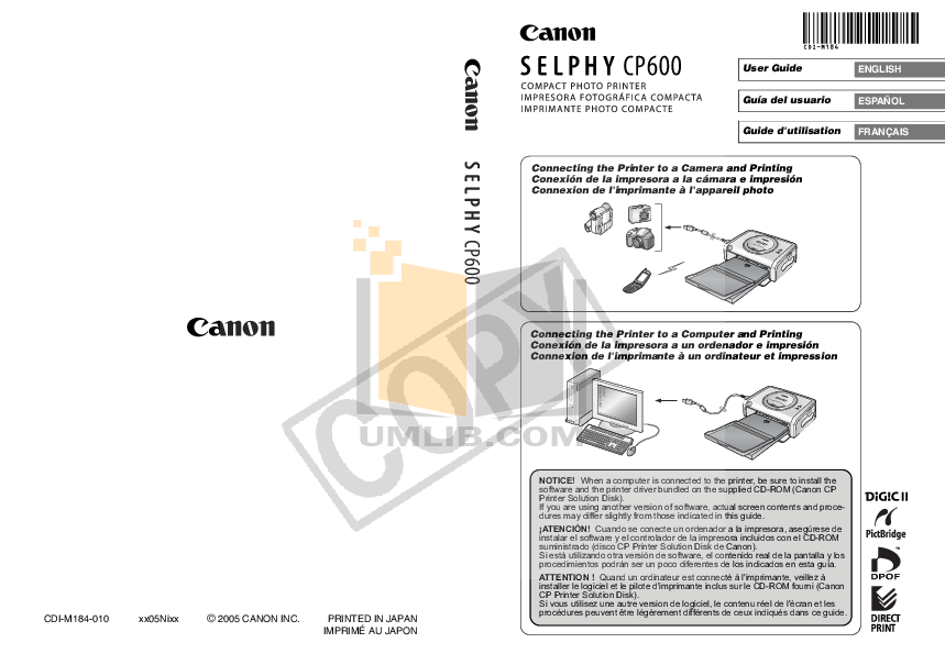 pdf for Canon Printer SELPHY CP600 manual