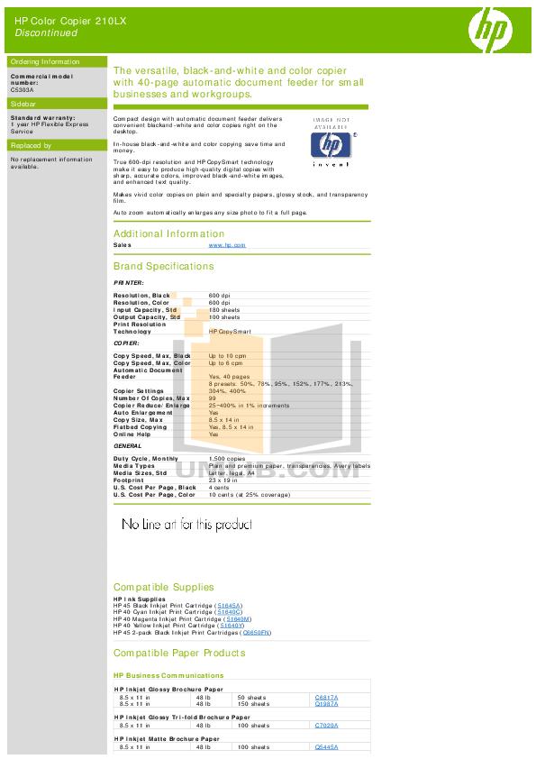 pdf for HP Copier 210Lx manual