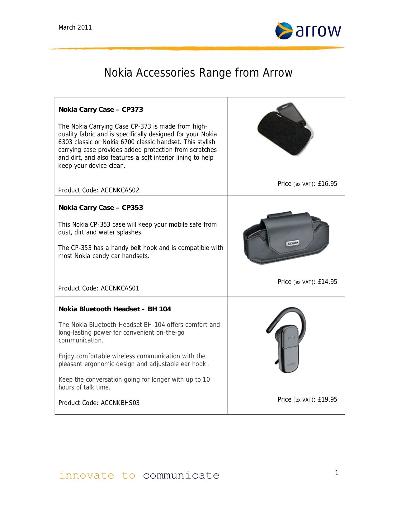 pdf for Nokia Headset BH-104 manual