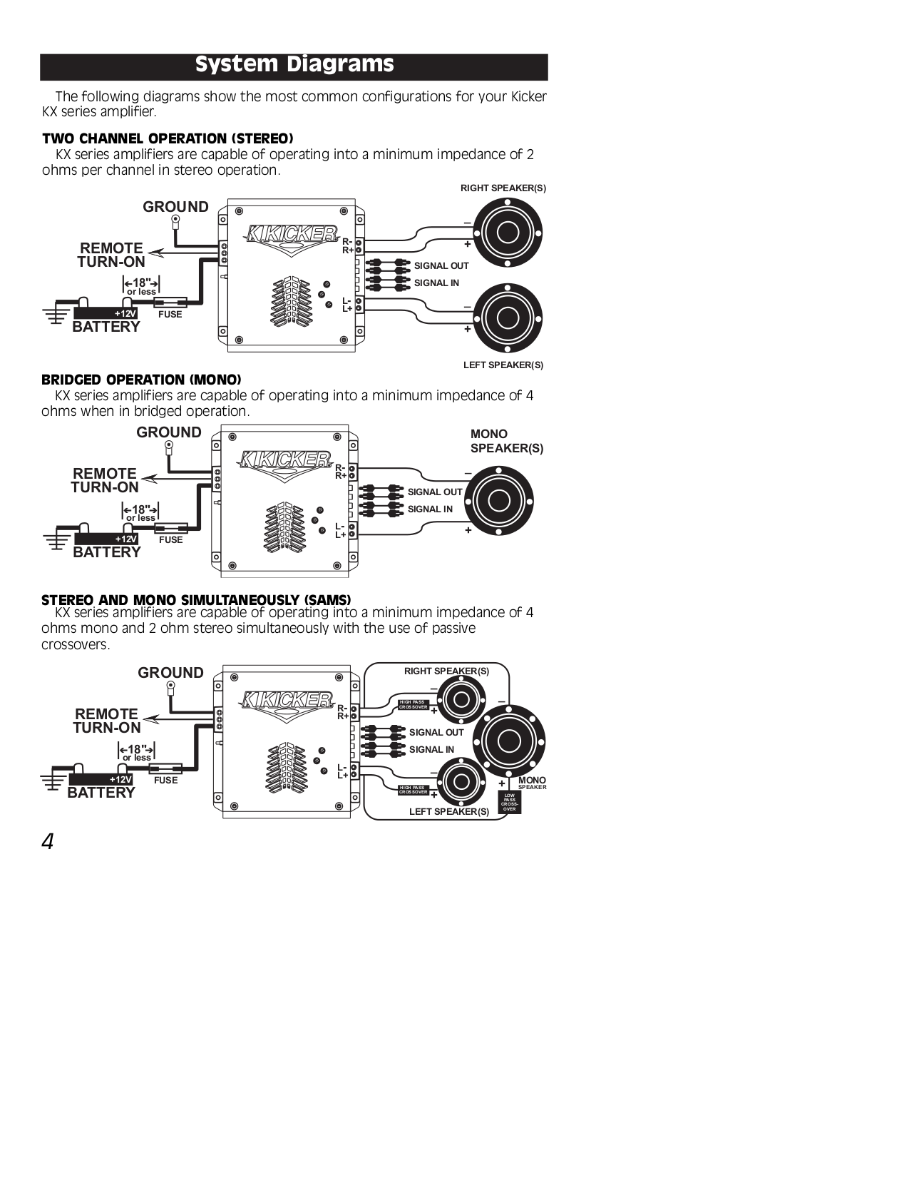 Kicker Kx800 1 Wiring Diagram All Kind Of Diagrams Pt250 Pdf Manual For Car Amplifier Kx120 2