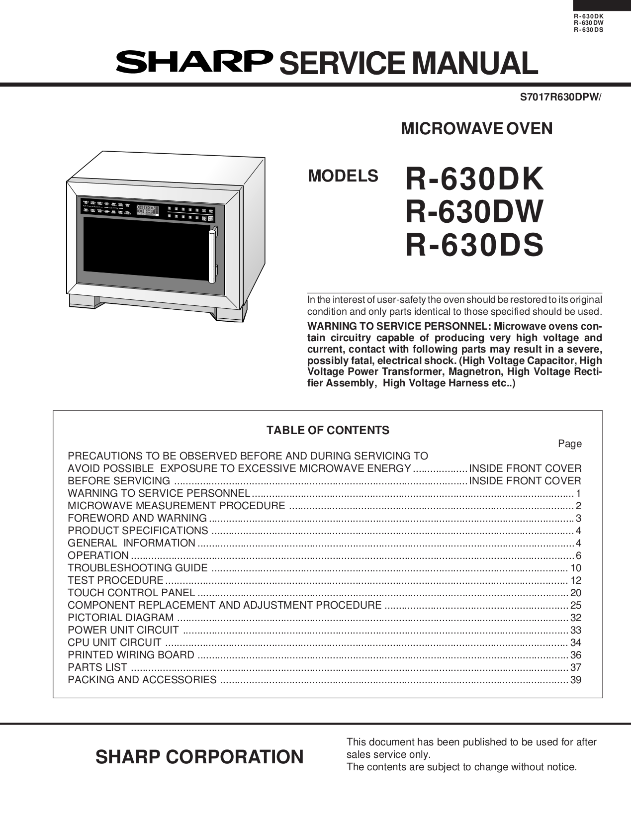 Download Free Pdf For Sharp R 630ds Microwave Manual Control Panel Circuit Diagram And Parts List Microwaveparts