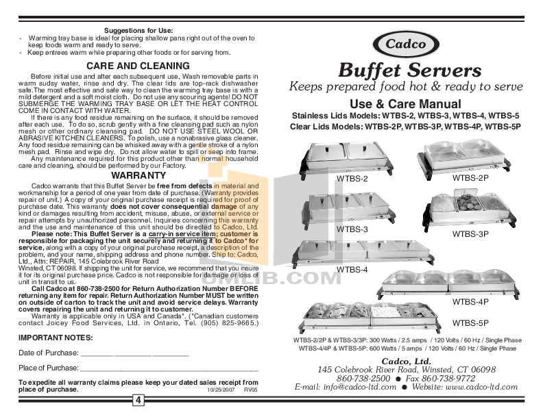 pdf for Cadco Other WTBS-4P Buffet Servers manual