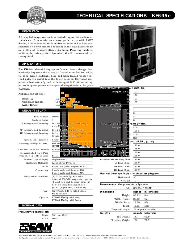 pdf for Eaw Subwoofer SB625P manual